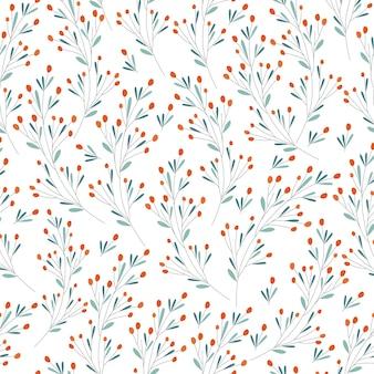 Naadloze patroon van duindoorn takken op een witte achtergrond. voor het bedrukken van textiel, behang, inpakpapier. originele afdruk. vector illustratie.