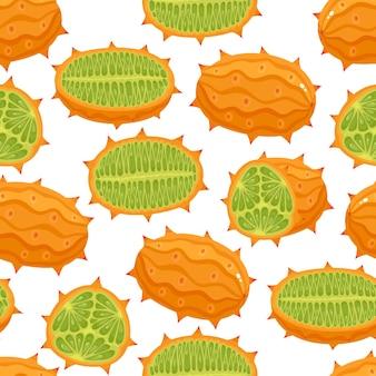 Naadloze patroon van exotisch fruit kiwano