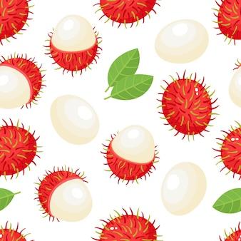 Naadloze patroon van exotisch fruit ramboetan op wit.