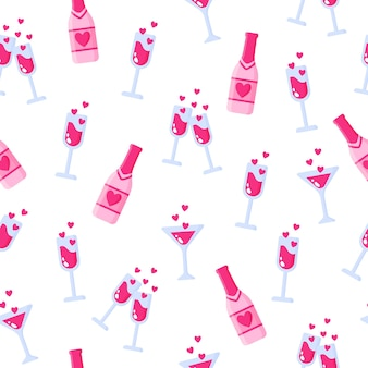 Naadloze patroon van flessen champagne en glazen