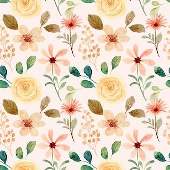 Naadloze patroon van geel roze bloem aquarel