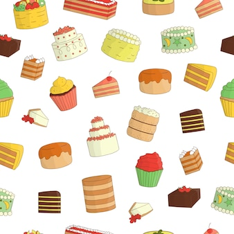 Naadloze patroon van gekleurde cakes. kleurrijk herhaal textuur van zoete bakkerijgoederen. heldere tekening van verjaardagstaarten
