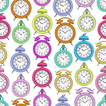 Naadloze patroon van gekleurde vintage klok