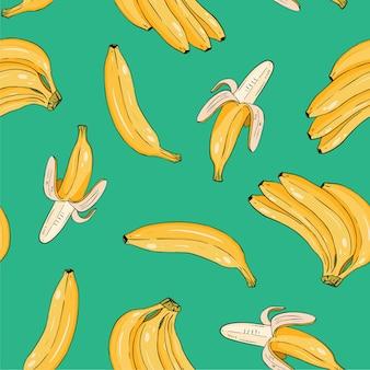 Naadloze patroon van gele bananen