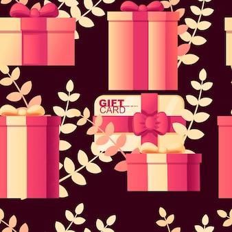 Naadloze patroon van geschenkdoos met cadeaubon abstracte zachte kleurenpatroon met bladeren op achtergrond platte vectorillustratie op donkere achtergrond.