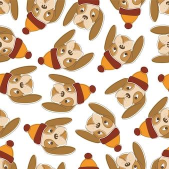 Naadloze patroon van grappige honden in warme hoeden op een witte achtergrond.