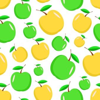 Naadloze patroon van groene en gele appels. rijpe appel oogst achtergrond.