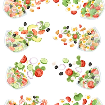 Naadloze patroon van groenten salade met verschillende verse ingrediënten cartoon afbeelding