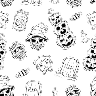 Naadloze patroon van halloween met hand getrokken stijl