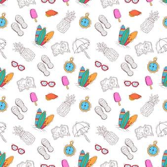 Naadloze patroon van hand getrokken of doodle zomer elementen