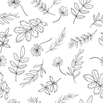 Naadloze patroon van handgemaakte bloemen elementen planten en bloemen schetsmatig ontwerp lijntekeningen