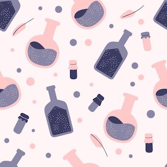 Naadloze patroon van hekserij kolven en potten met drankjes op een roze achtergrond. attributen voor magie. hand getekend