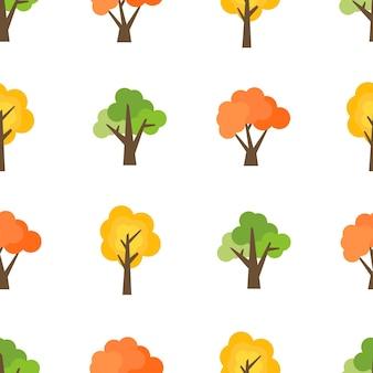 Naadloze patroon van herfst bomen. herfst bos achtergrond. vector illustratie