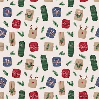 Naadloze patroon van kerst geschenkdozen. kleurrijke cadeautjes.