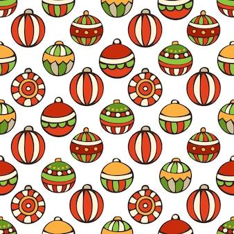 Naadloze patroon van kerstballen