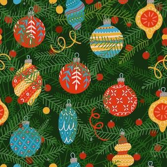 Naadloze patroon van kerstboom takken met feestelijke glazen bollen close-up weergave platte vector illus...