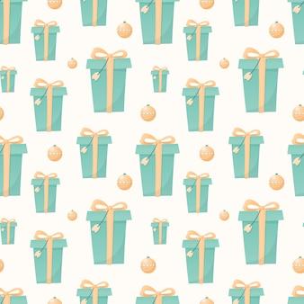 Naadloze patroon van kerstmis geïsoleerde pictogrammen op een witte achtergrond. wintervakantie symbolen. heldere geschenkdozen met strikken en kerstballen.