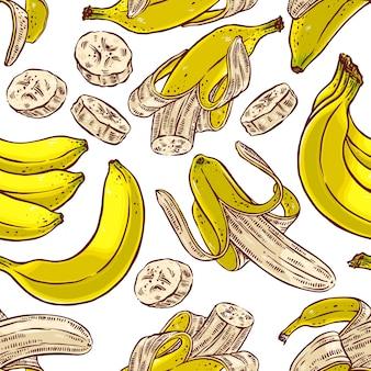 Naadloze patroon van kleurrijke bananen. handgetekende illustratie
