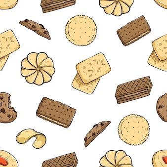 Naadloze patroon van koekjes met gekleurde doodle stijl op witte achtergrond