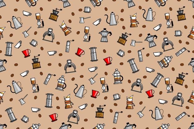 Naadloze patroon van koffie brewer