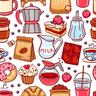 Naadloze patroon van koffie en desserts