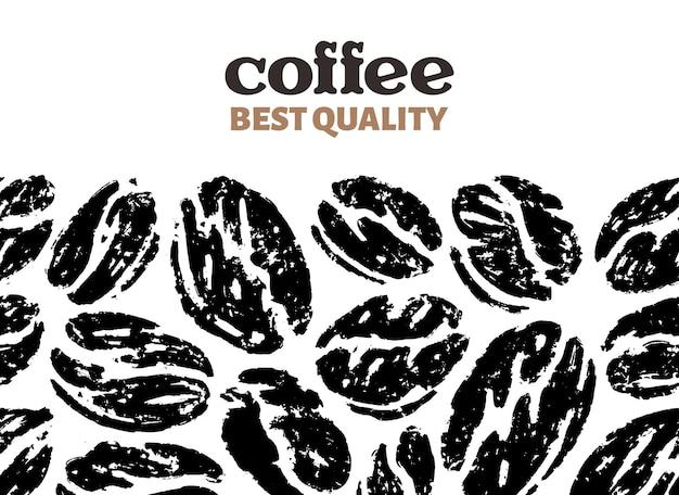 Naadloze patroon van koffiebonen in doodle schets Premium Vector