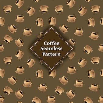 Naadloze patroon van kopjes en koffieschil.