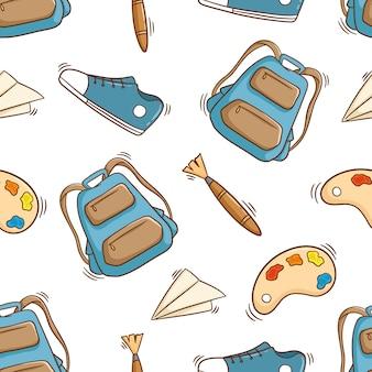 Naadloze patroon van kunstacademie met gekleurde doodle stijl