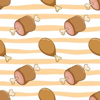 Naadloze patroon van lekker kip- en varkensvlees. heerlijke drumstok met doodle stijl