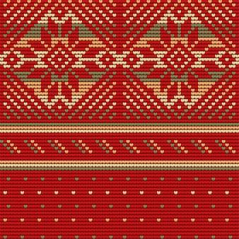 Naadloze patroon van lelijke kersttrui, rode achtergrond