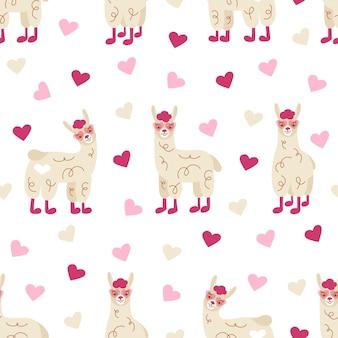 Naadloze patroon van leuke grappige lama's in roze bril met hartjes.