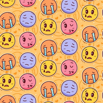 Naadloze patroon van leuke mensen emoticon