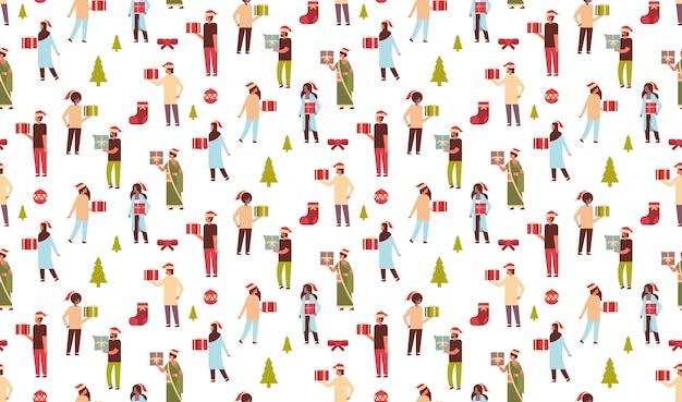 Naadloze patroon van mensen die geschenkdoos aanwezig, kerstthema