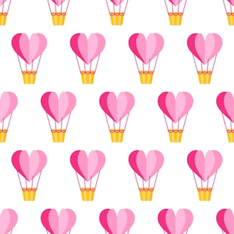 Naadloze patroon van origami hart ballon