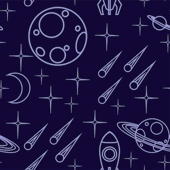 Naadloze patroon van overzicht ruimte pictogram planeet ruimteschip, asteroïde en anderen platte vectorillustratie op donkere achtergrond.