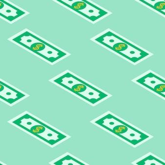 Naadloze patroon van papiergeld op een groene achtergrond.
