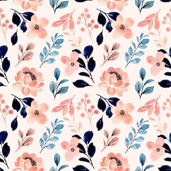 Naadloze patroon van perzik bloem aquarel