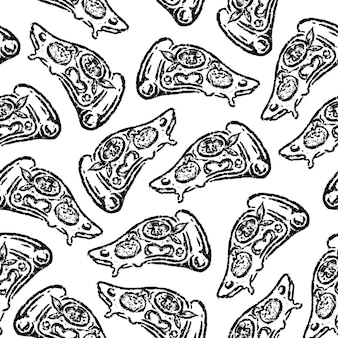 Naadloze patroon van plak pizza in hand tekenen ontwerp