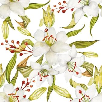 Naadloze patroon van prachtige aquarel witte lelie