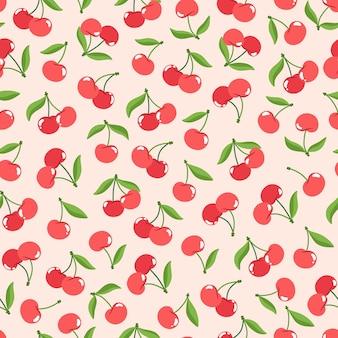 Naadloze patroon van rode kersen met groene bladeren in vlakke stijl