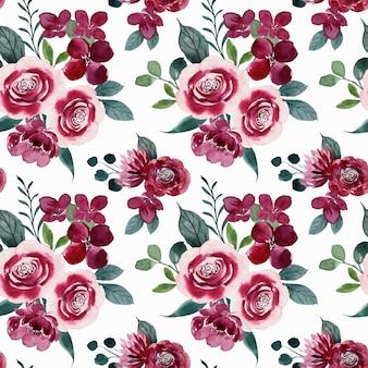 Naadloze patroon van rood roze bloem aquarel