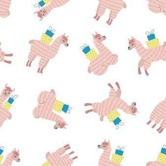 Naadloze patroon van roze alpaca's met geschenkdozen op witte achtergrond. ideaal voor babykleding, behang, inpakpapier, woondecoratie.