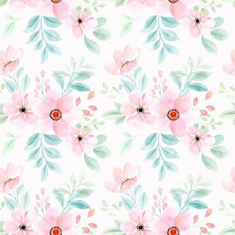 Naadloze patroon van roze bloem aquarel