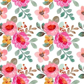Naadloze patroon van roze bloemen aquarel