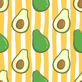 Naadloze patroon van schattige avocado met gekleurde doodle stijl