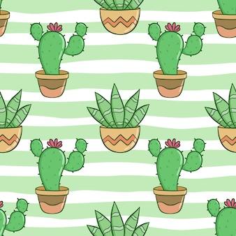 Naadloze patroon van schattige cactus met gekleurde doodle stijl
