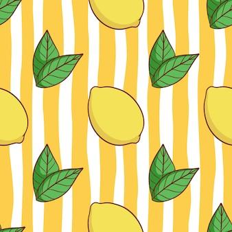 Naadloze patroon van schattige citroen met gekleurde doodle stijl