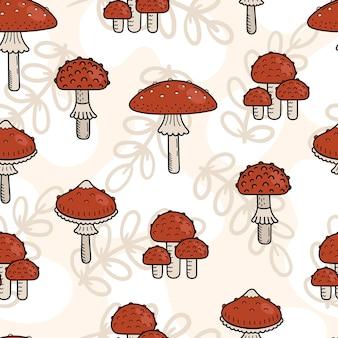 Naadloze patroon van schattige doodle paddestoelen. giftige paddestoel, vliegenzwam. vector hand illustratie