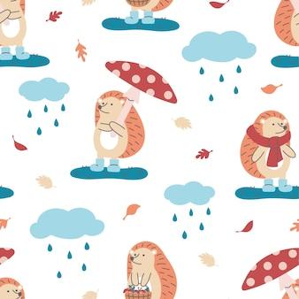 Naadloze patroon van schattige egels met paddenstoel, sjaal en mand op witte achtergrond. ideaal voor kinderdesign, stof, verpakking, behang, textiel, woondecoratie.