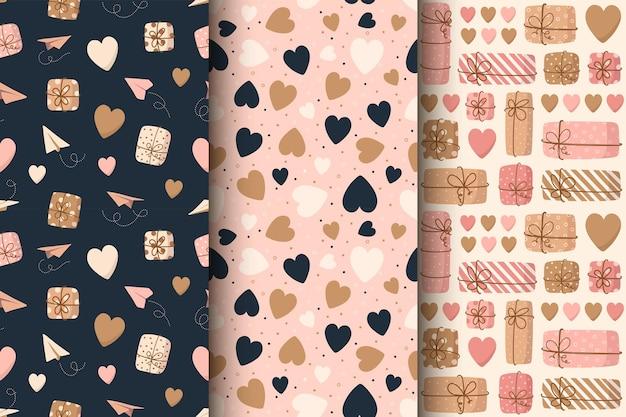 Naadloze patroon van schattige harten voor valentijnsdag